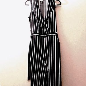 A New Day Black and White Striped Jumpsuit S
